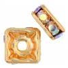 Rhinestone Square Rondelle (Flat) 6X6mm Crystal Aurora Borealis/gold 50pcs